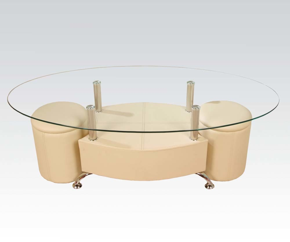 3pc glass cream faux leather coffee table set ebay for Large cream coffee table