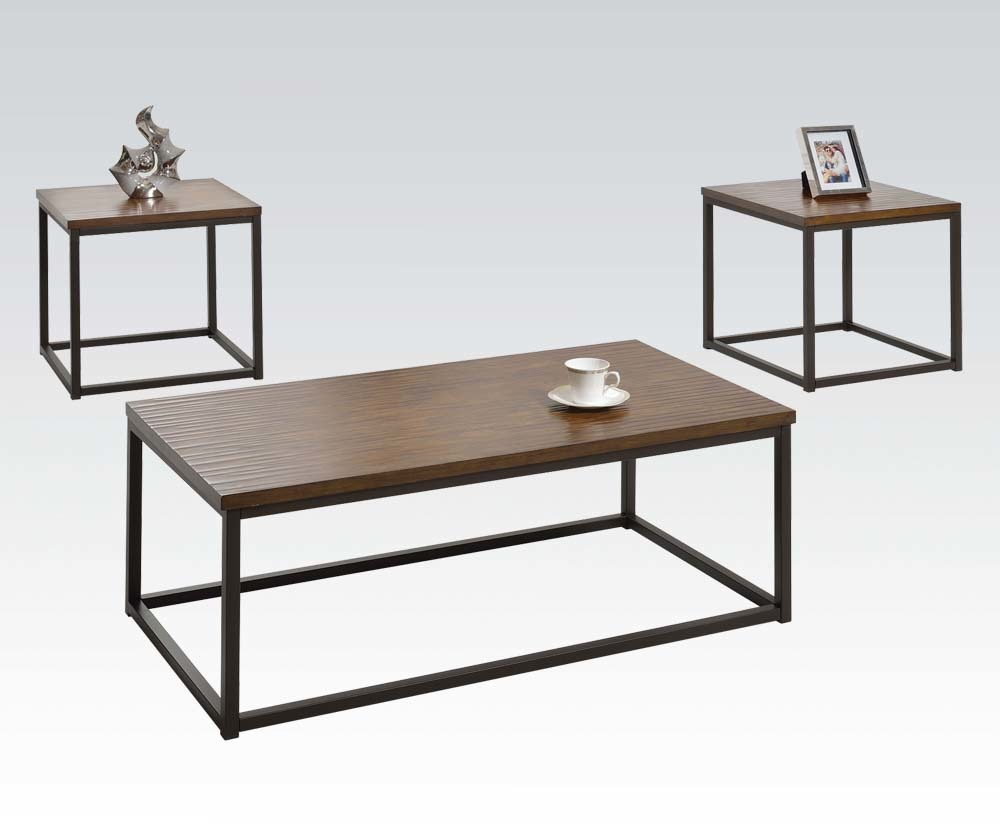 Coffee Table And 2 End Tables Walnut Table Top Finish Black Metal