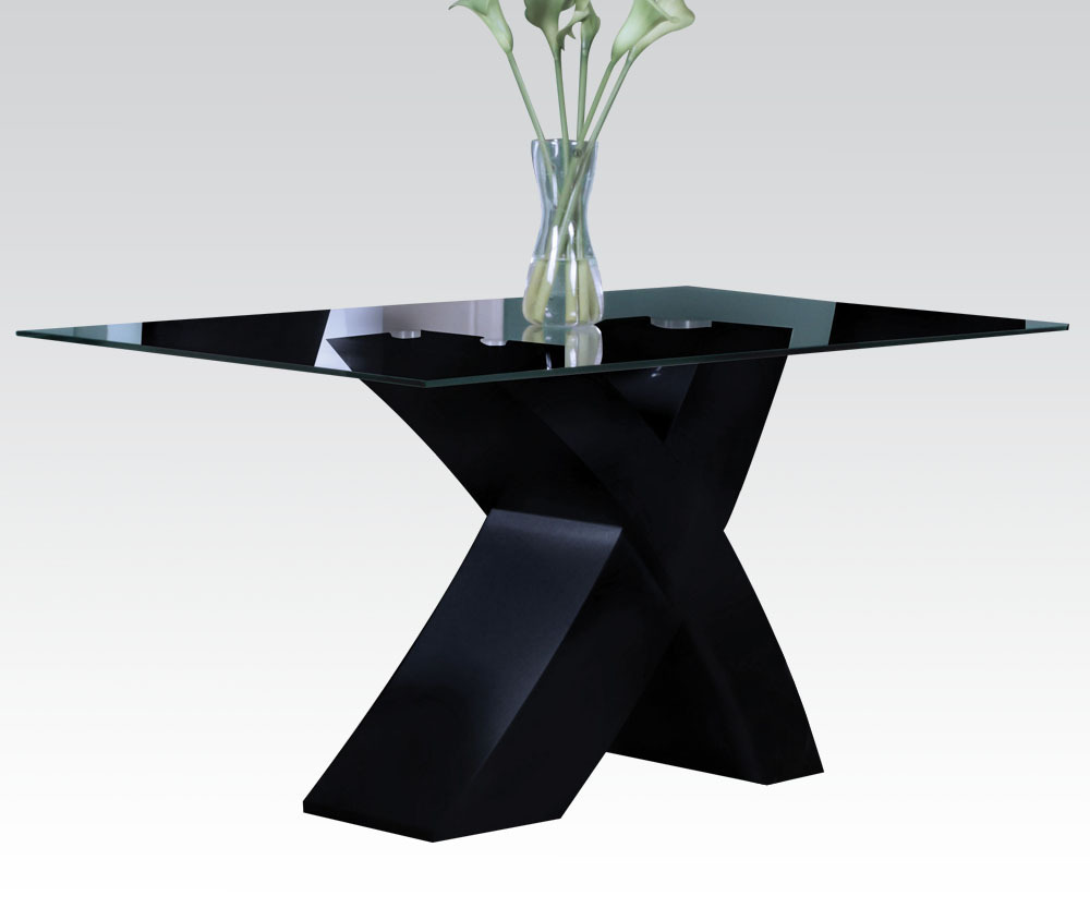 Details About Black Clear Glass Modern Pedestal Dining Table