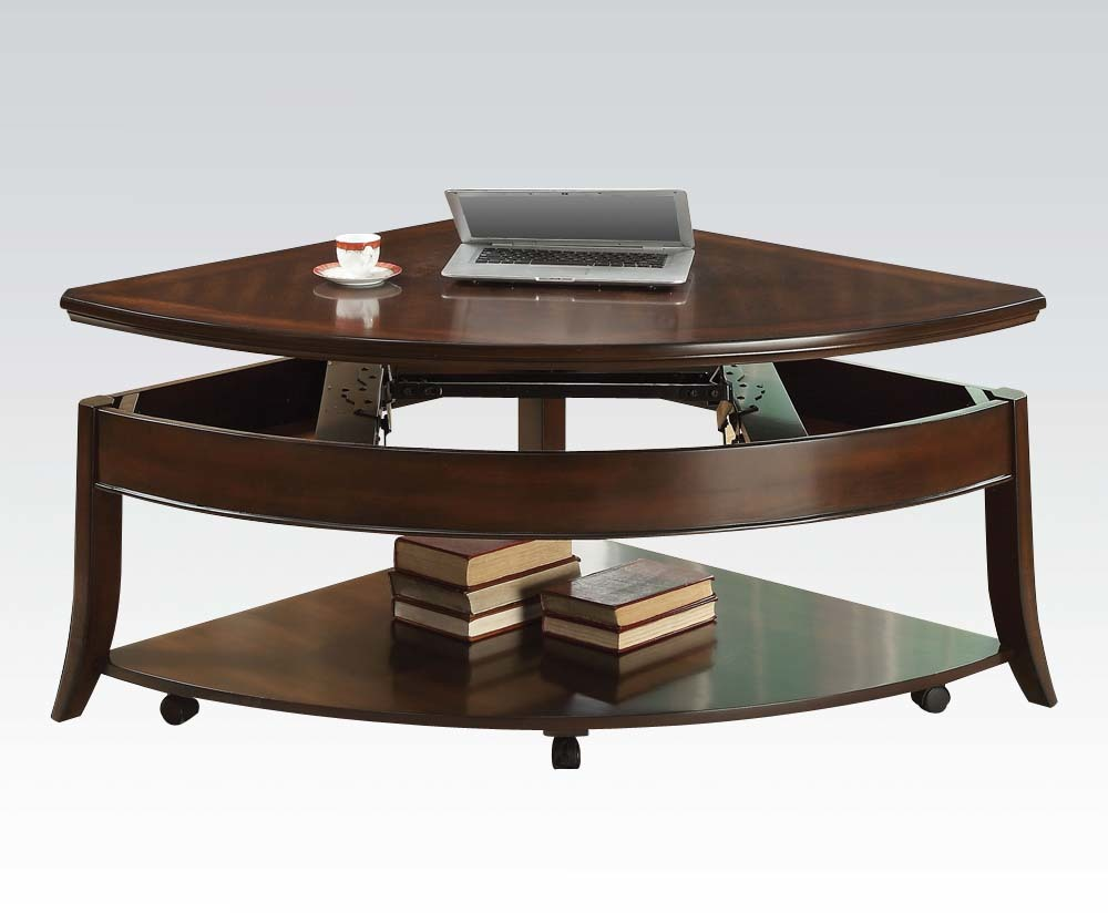 Walnut Transitional Wedge Lift Top Coffee Table Ebay