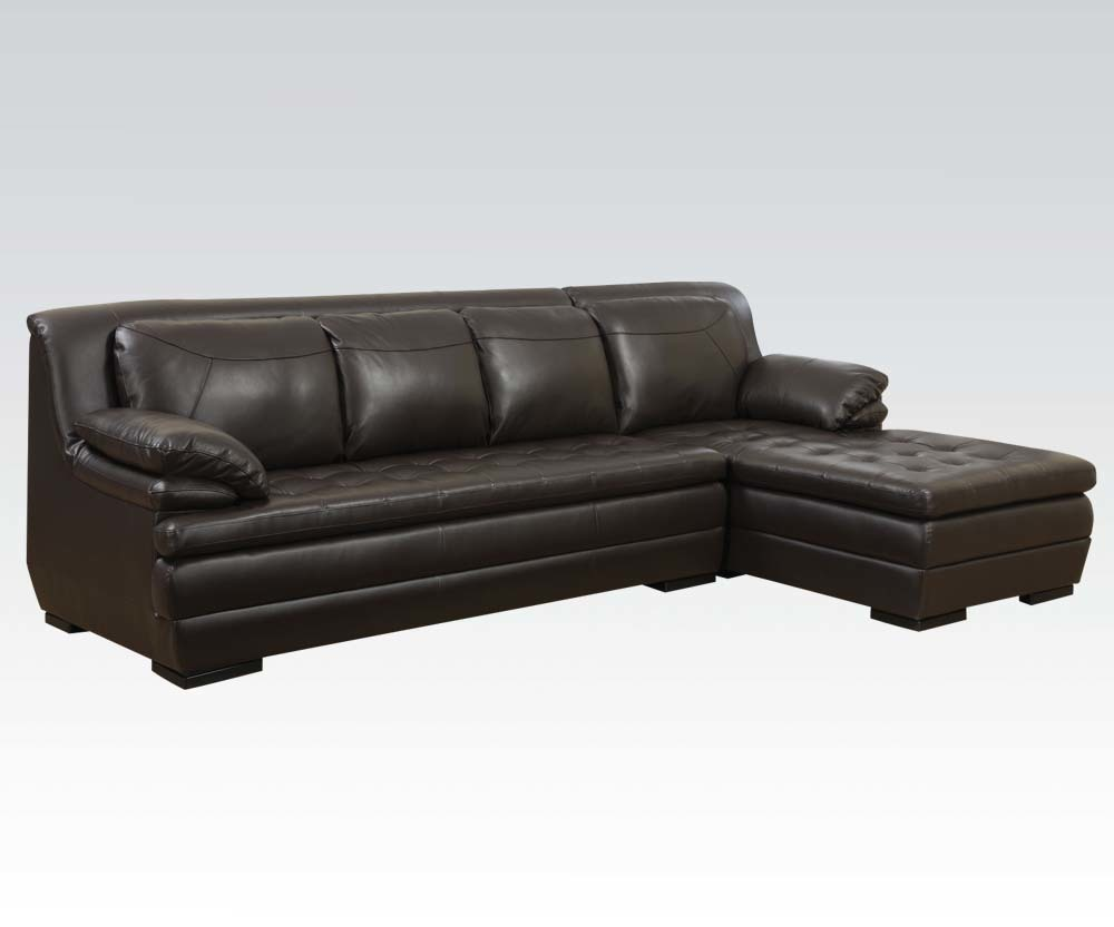 Dark brown leather match tufted contemporary sectional for Brown leather sofa with chaise lounge