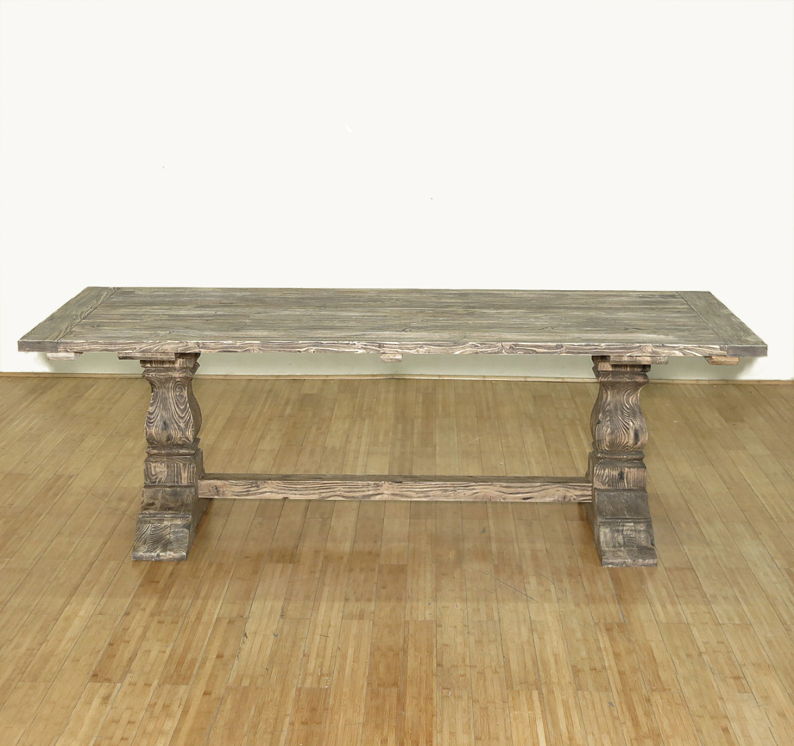 8ft solid wood refectory rectangular double pedestal