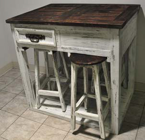 5pc White Distressed Kitchen Island With Stools