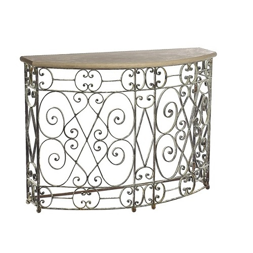 Wrought Iron Deep Ocean Finish Demi Lune Small Console