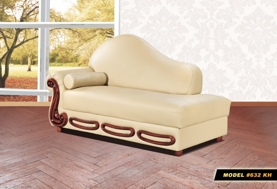 632kh ch genuine bonded leather rich cherry finish chaise for Bonded leather chaise lounge