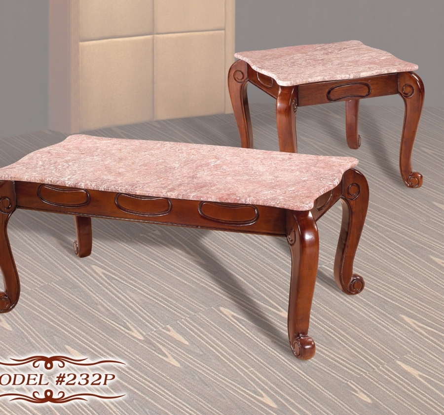 Cherry Marble Top Coffee Tables: Meridian 232P 2 PC Cherry Pink Marble Top Solid Wood