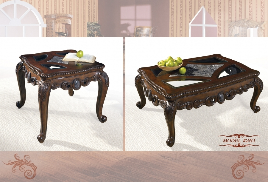 Meridian 261 2 pc cherry glass and marble tops solid wood for Cherry wood glass coffee table