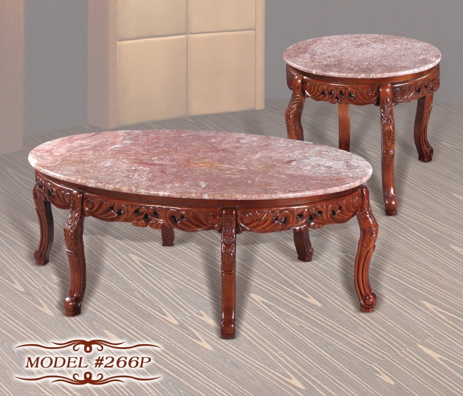 Cherry Marble Top Coffee Tables: Meridian 266P 2 PC Cherry Pink Marble Tops Solid Wood