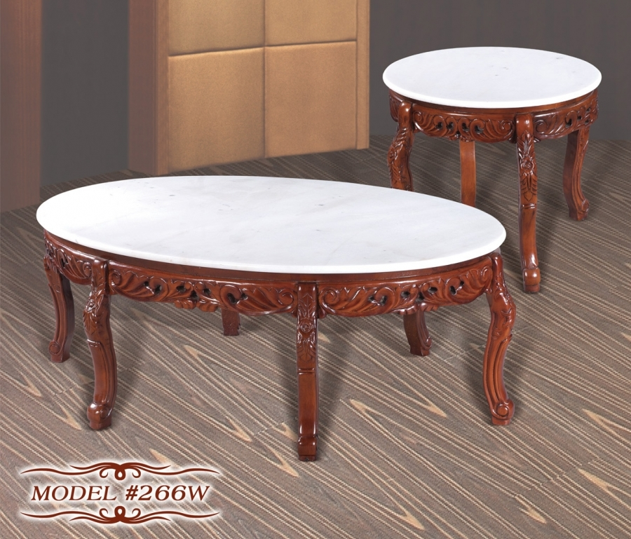 Cherry Marble Top Coffee Tables: Meridian 266W 2 PC Cherry White Marble Tops Solid Wood
