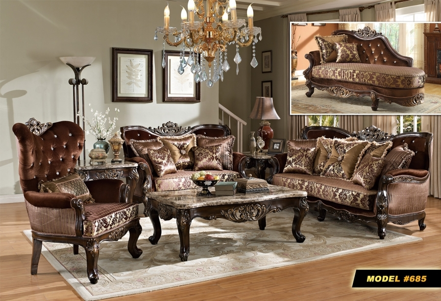 meridian furniture 685 6 pc living room set french