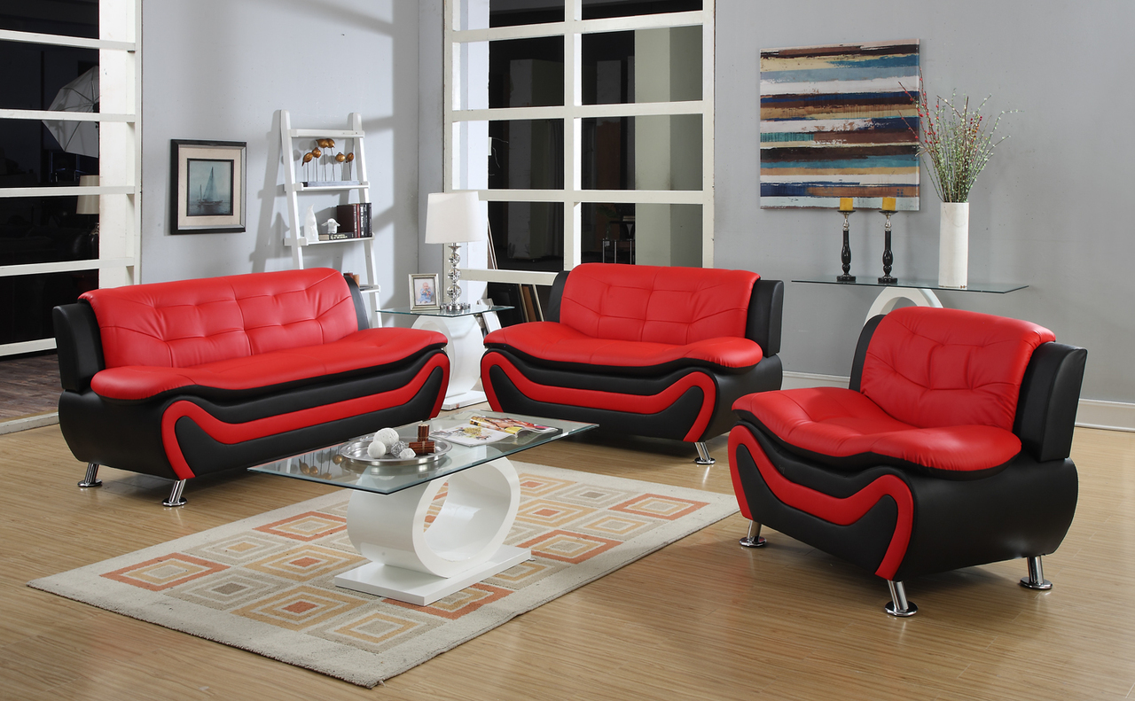 3 PC Modern Black and Red Bonded Leather Sofa Set