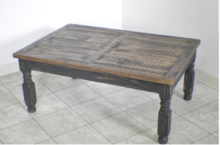 Lyon Rustic Pine Black Distressed Coffee Table Ebay