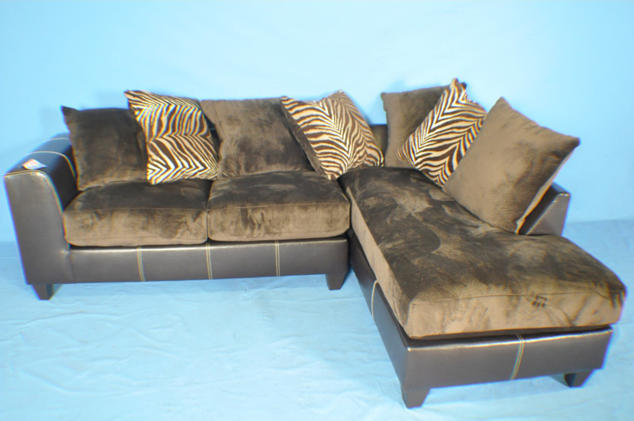 El paso mocha fabric chocolate faux leather sectional for Sectional sofas el paso texas