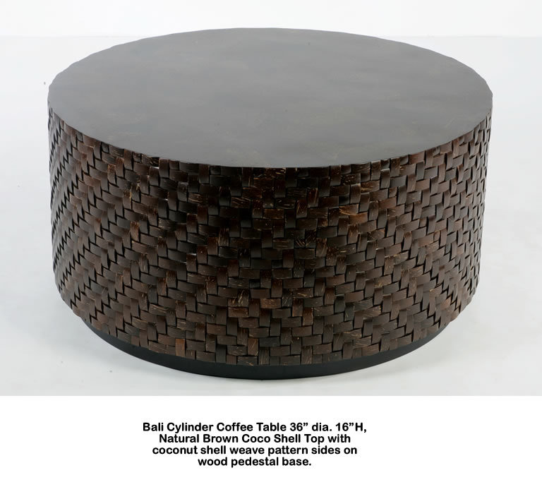 Bali Natural Brown Coco Shell Coffee Table
