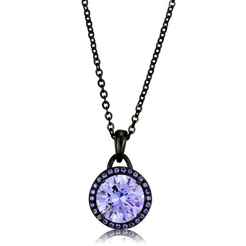 10mm Light Amethyst Necklace 16 inch Black IP Stainless Steel