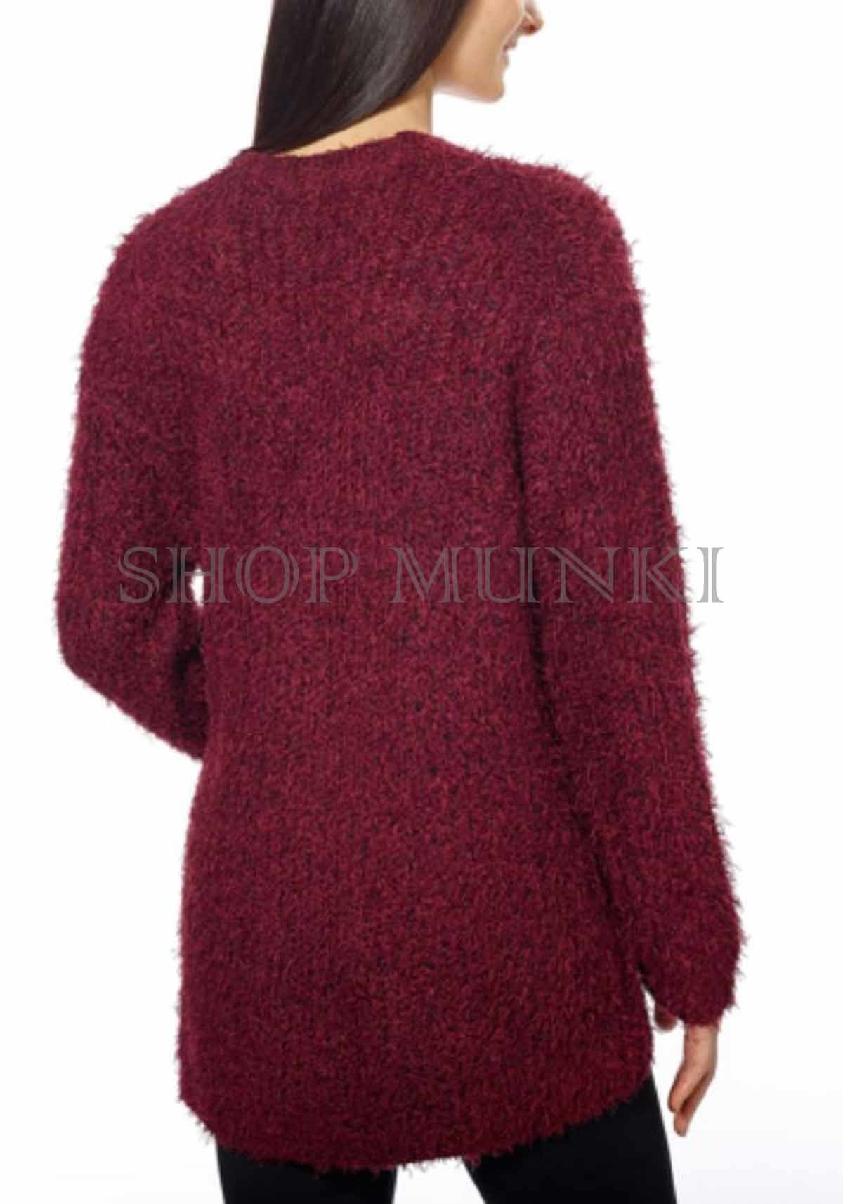 Kensie Women's Soft and Cozy Open Front Eyelash Cardigan Sweater