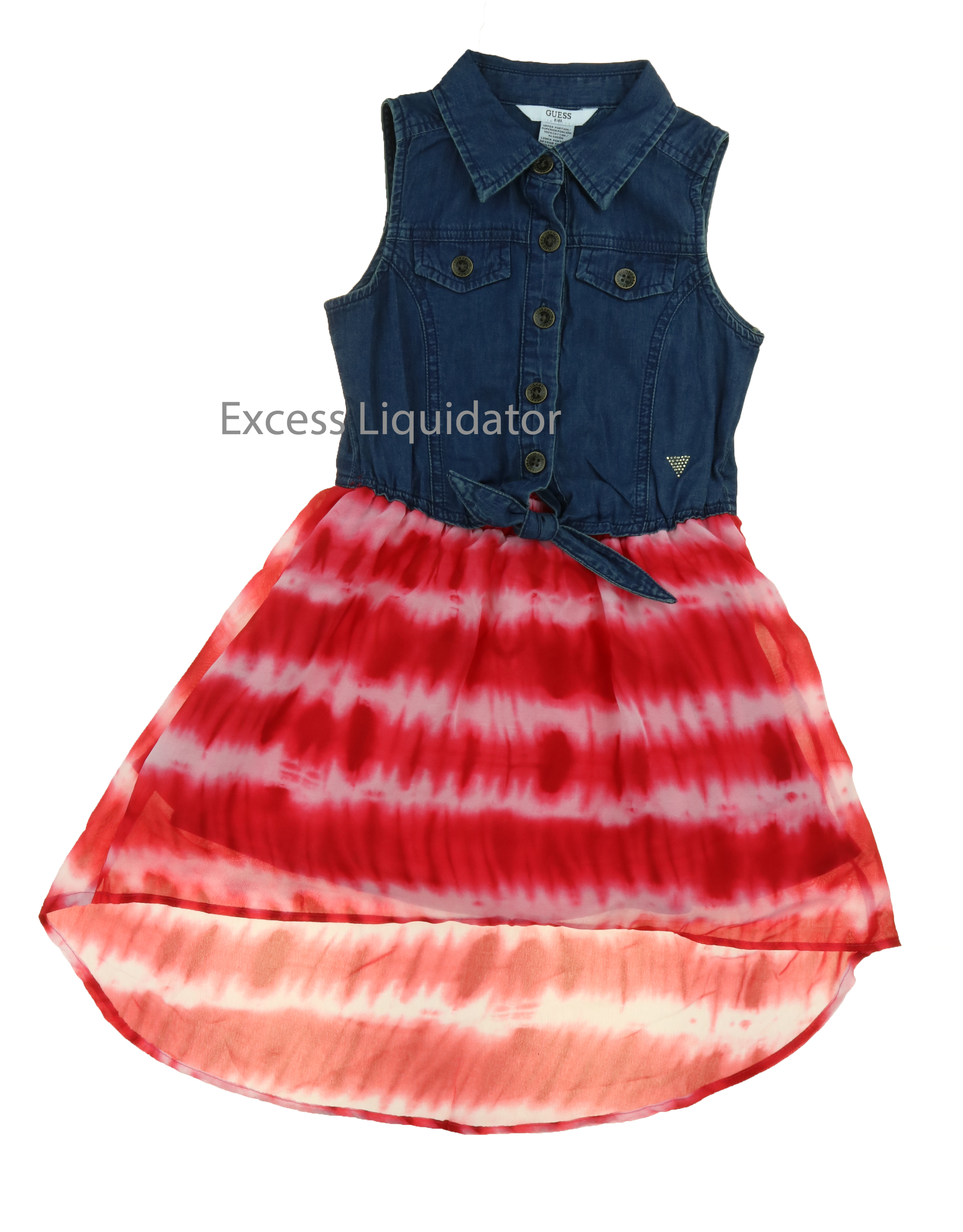 Guess Jeans Kids Girls Patterned Denim and Lace Dresses