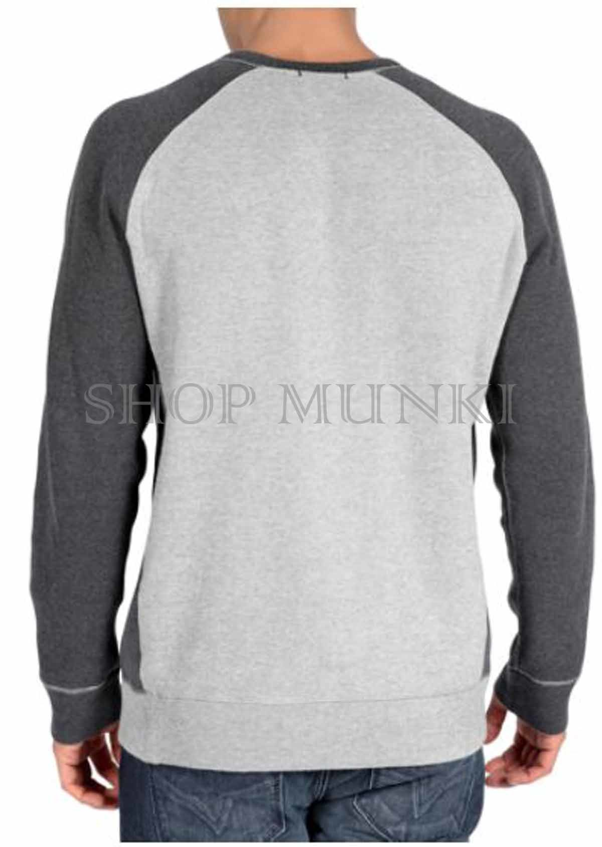 Dkny jeans men 39 s crew neck raglan pullover sweater shirt for Crew neck sweater with collared shirt