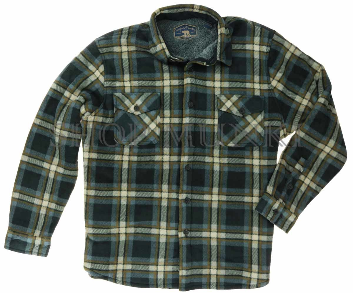 Freedom foundry men 39 s sherpa fleece flannel lined jacket for Foundry men s polo shirts
