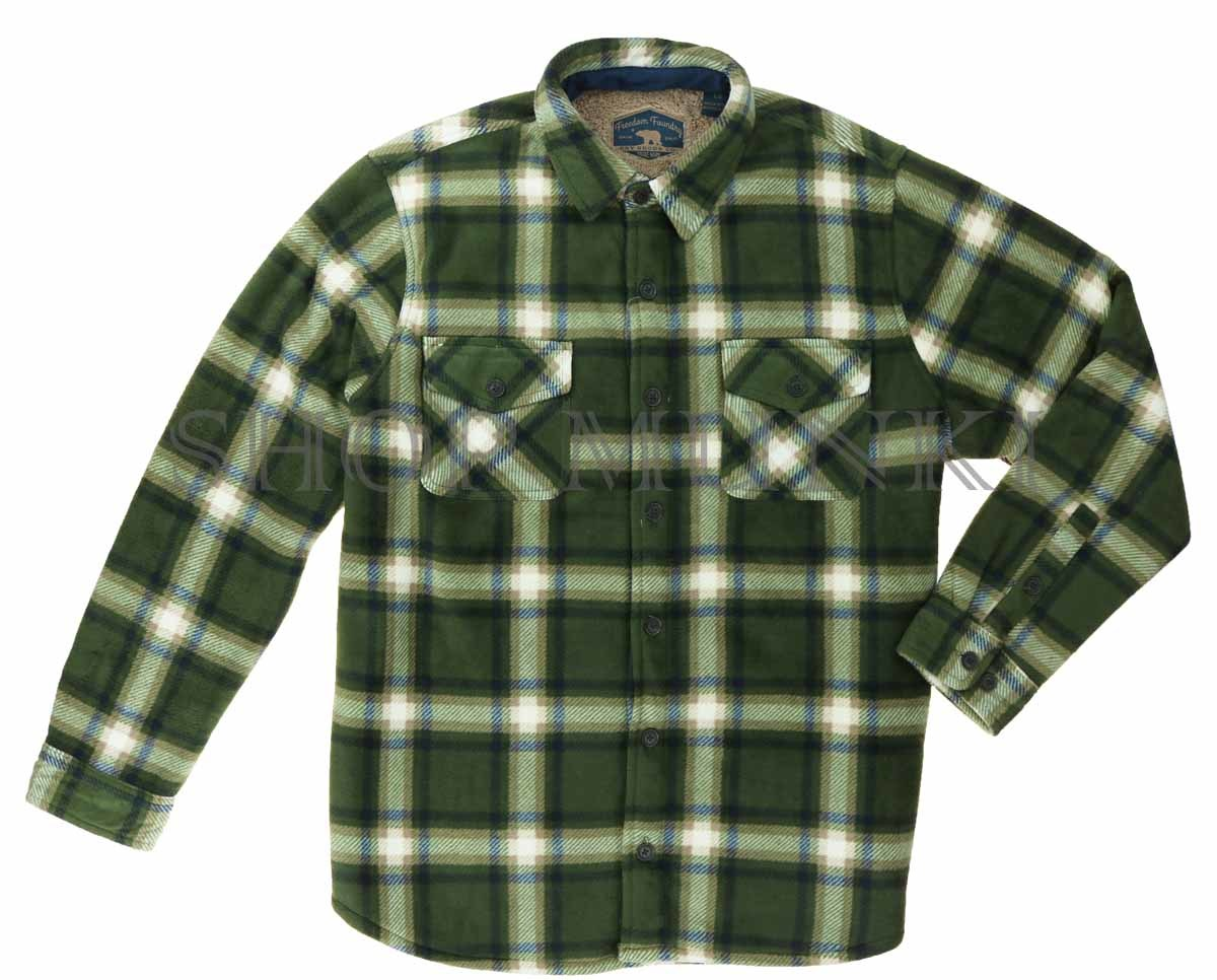freedom foundry men 39 s sherpa fleece flannel lined jacket. Black Bedroom Furniture Sets. Home Design Ideas