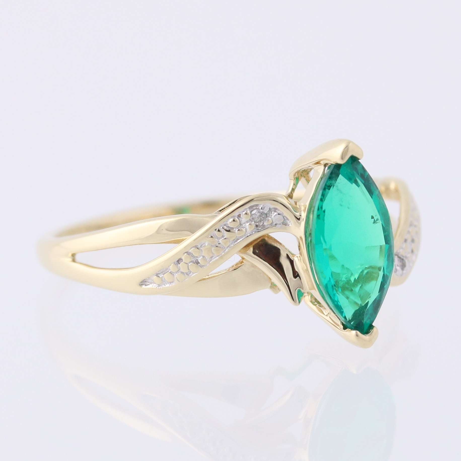 synthetic emerald ring accents 10k yellow gold