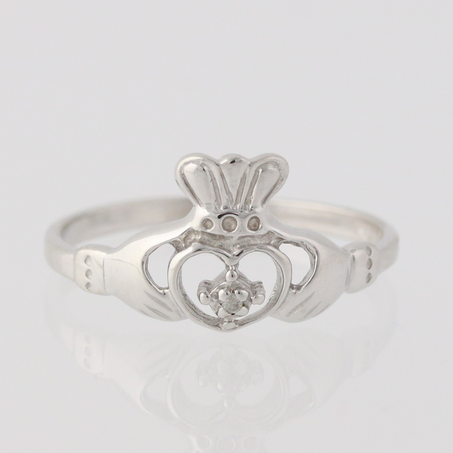new diamond accented claddagh ring 10k white gold irish. Black Bedroom Furniture Sets. Home Design Ideas