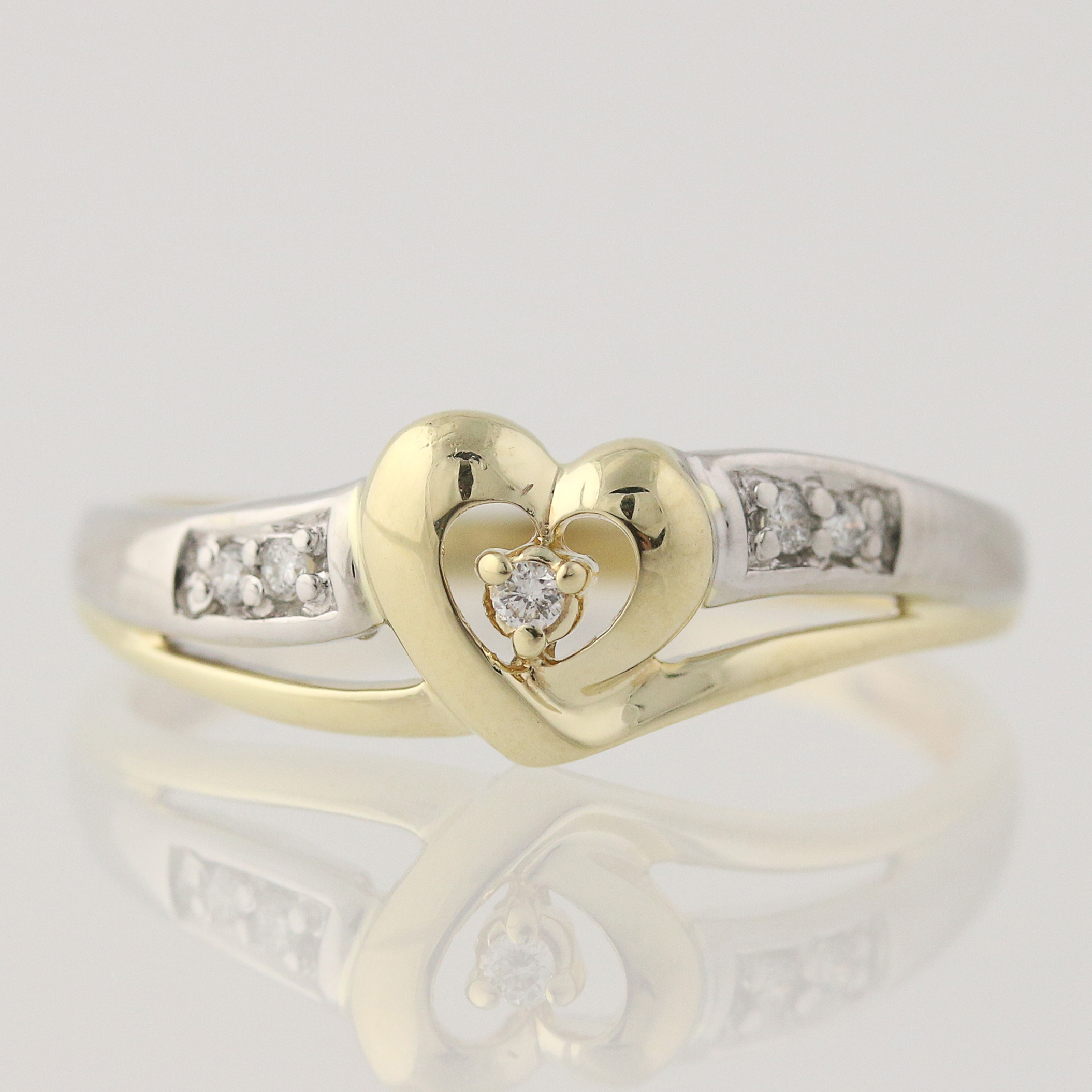 promise ring 10k yellow white gold 08ctw