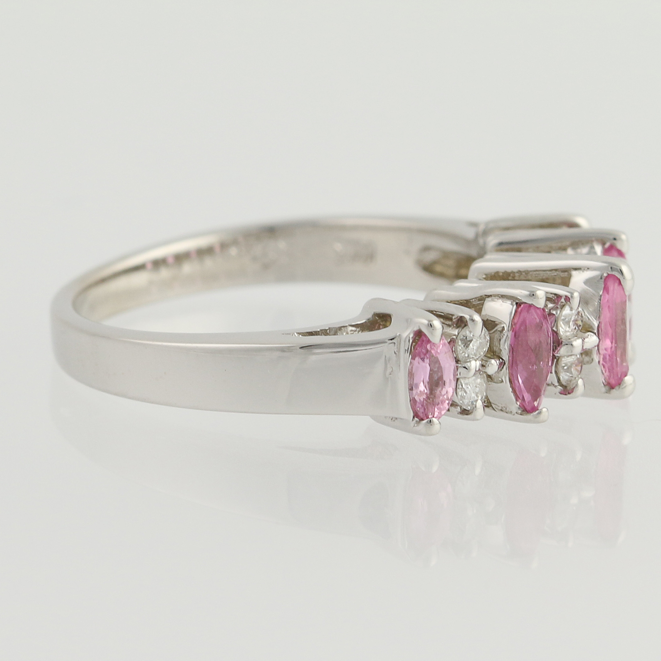 tiered pink sapphire diamond ring 14k white gold. Black Bedroom Furniture Sets. Home Design Ideas