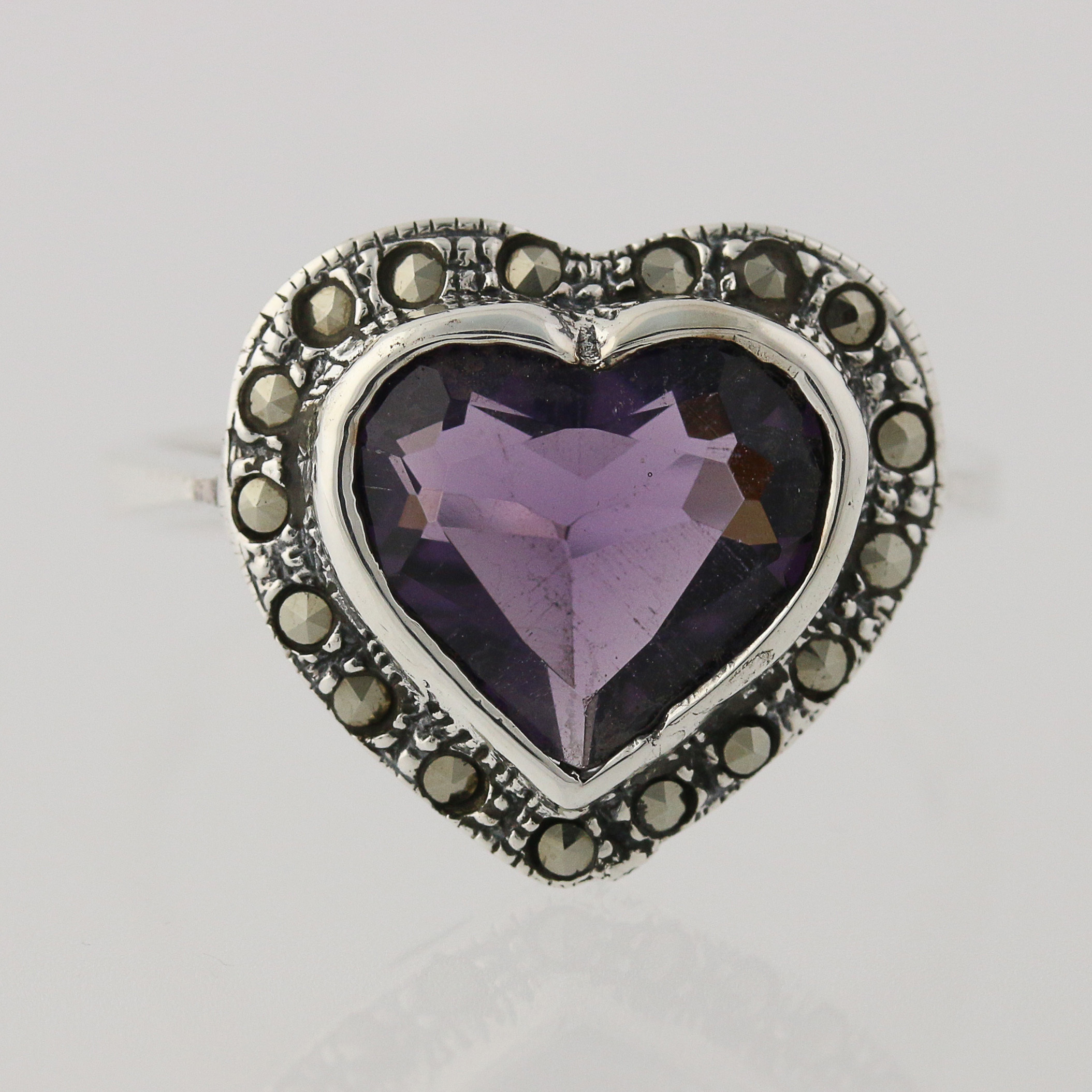 new simulated amethyst heart ring sterling silver. Black Bedroom Furniture Sets. Home Design Ideas