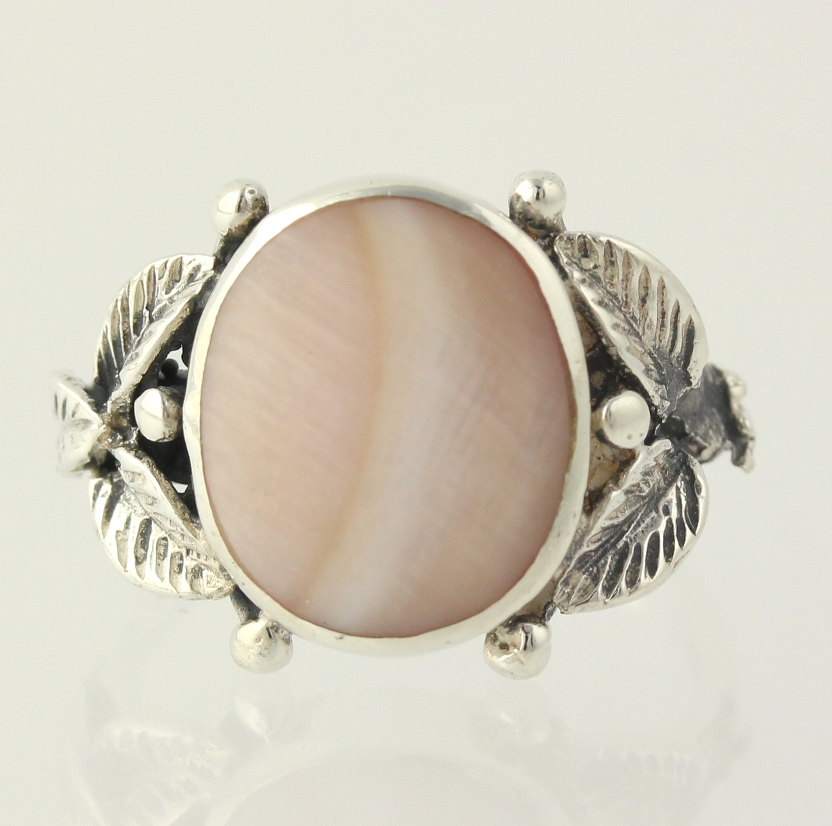 pink of pearl ring sterling silver floral 925