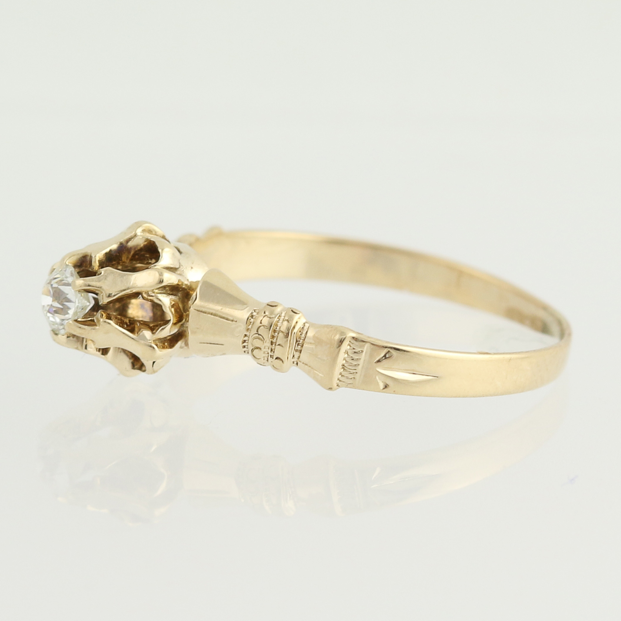 Victorian Diamond Engagement Ring 14k Yellow Gold Antique 12ct