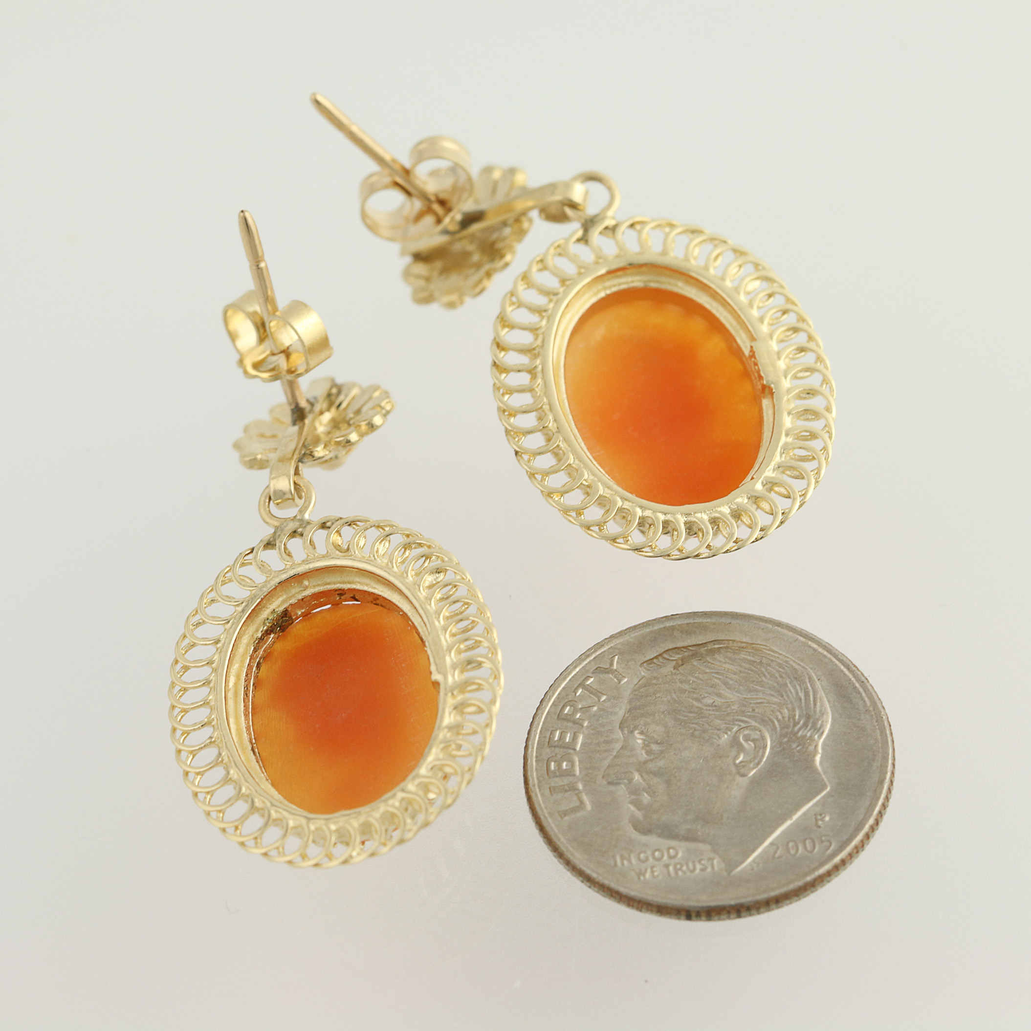 cameo dangle earrings 14k yellow gold pierced carved. Black Bedroom Furniture Sets. Home Design Ideas
