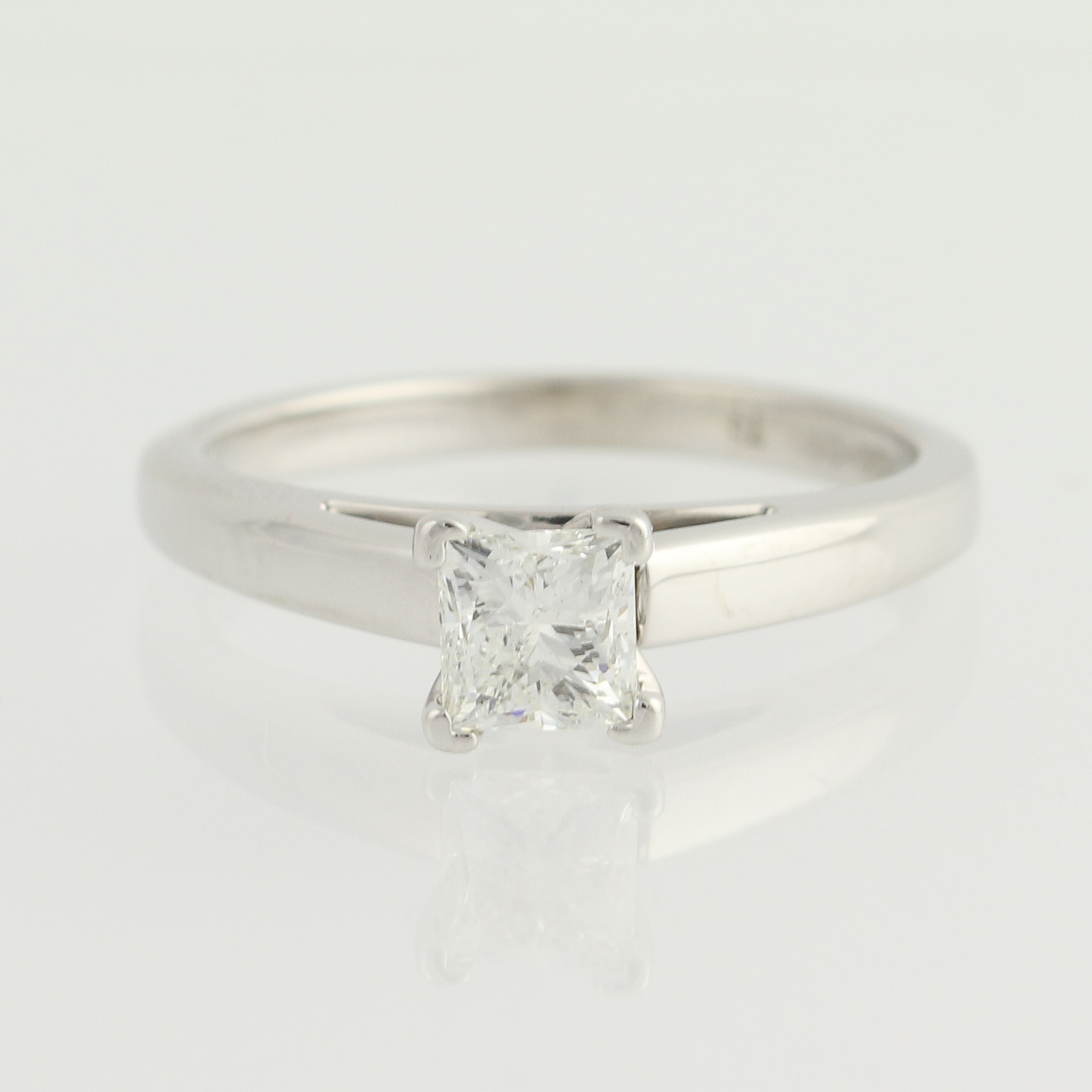 leo solitaire engagement ring 14k white gold princess