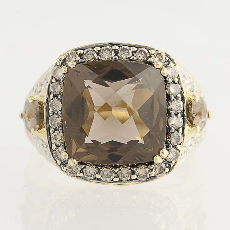 Checkerboard Smoky Quartz And Diamond Ring