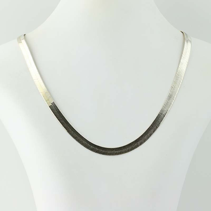 herringbone chain necklace sterling silver 925 19 5
