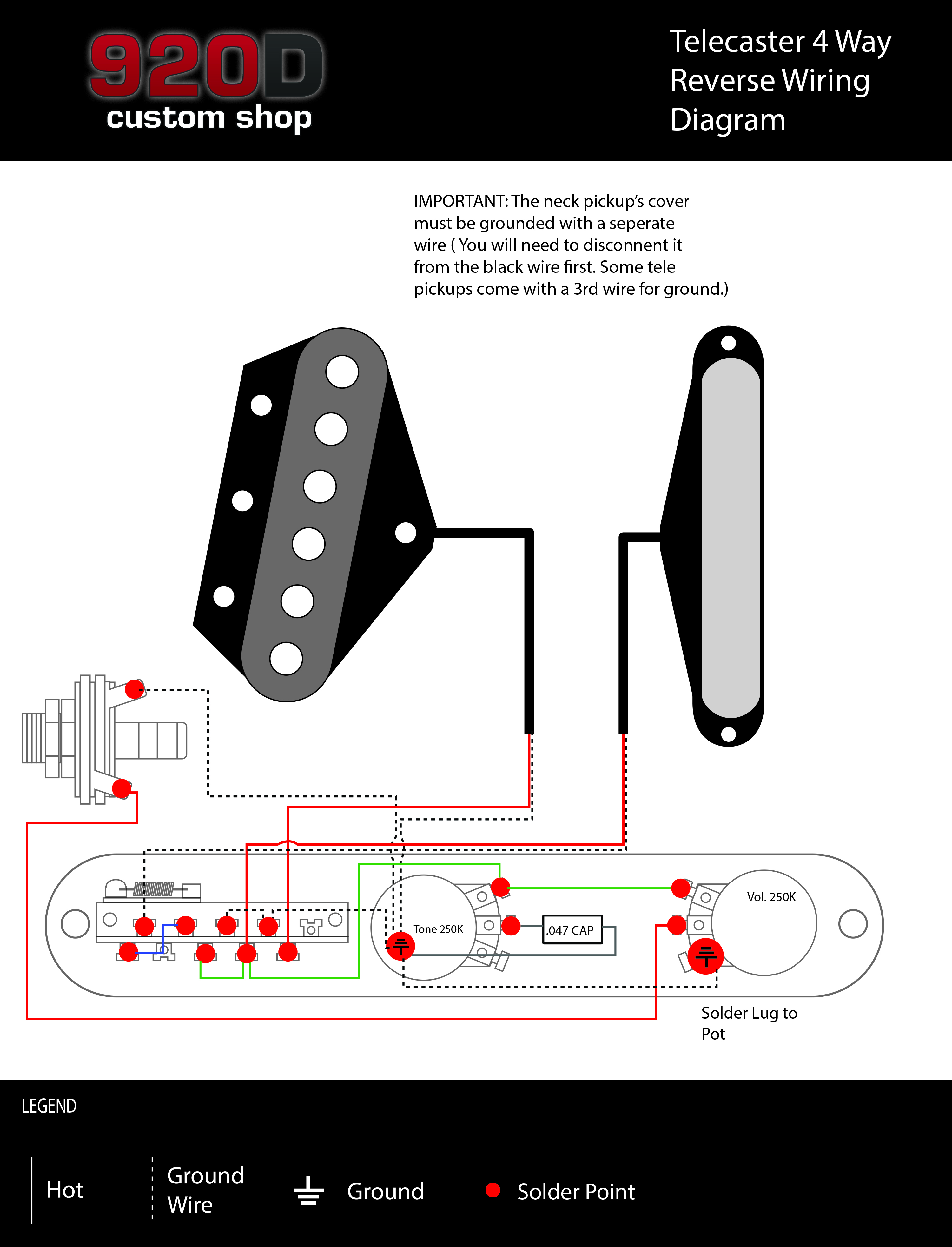 Fender Tele Telecaster 4 Way Reverse Control Plate wOak Grigsby