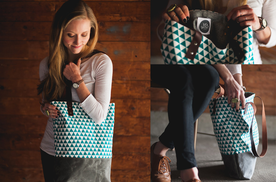 teal triangle tote