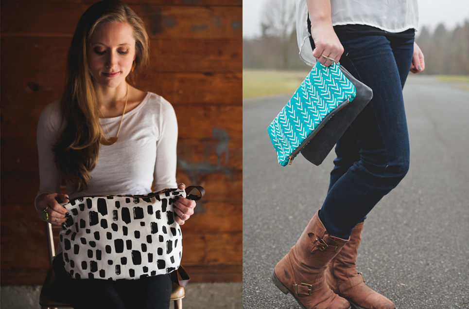 brush dot tote, teal arrow clutch