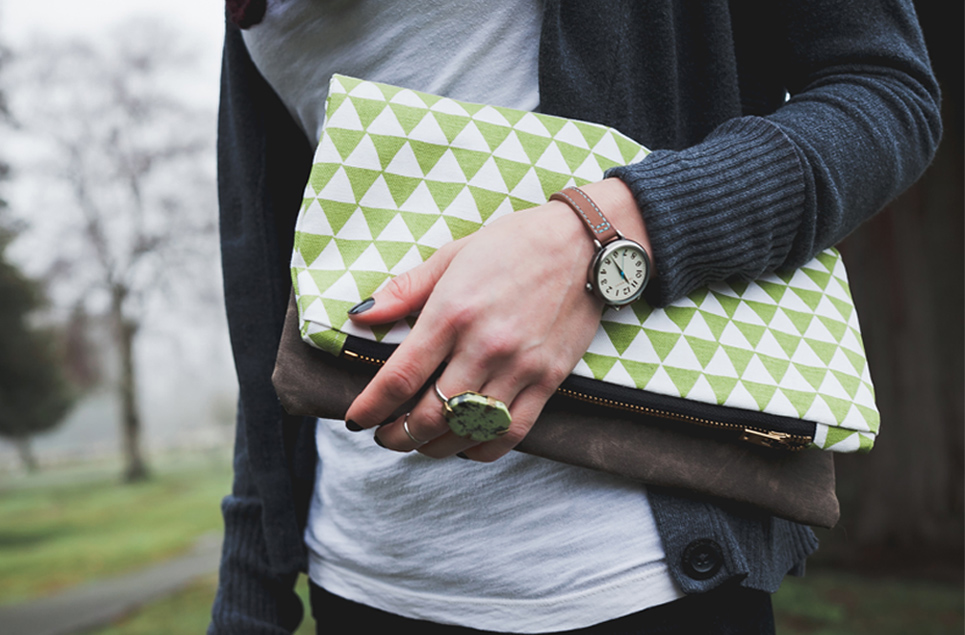 olive triangle clutch