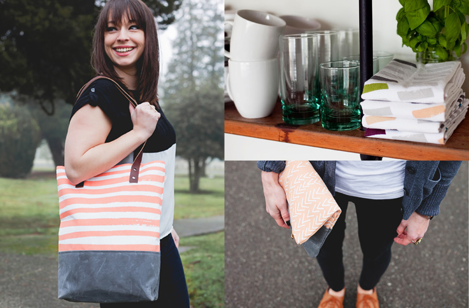 tote, clutch, tea towels