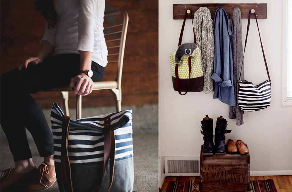 navy stripe tote, bags on coat hook