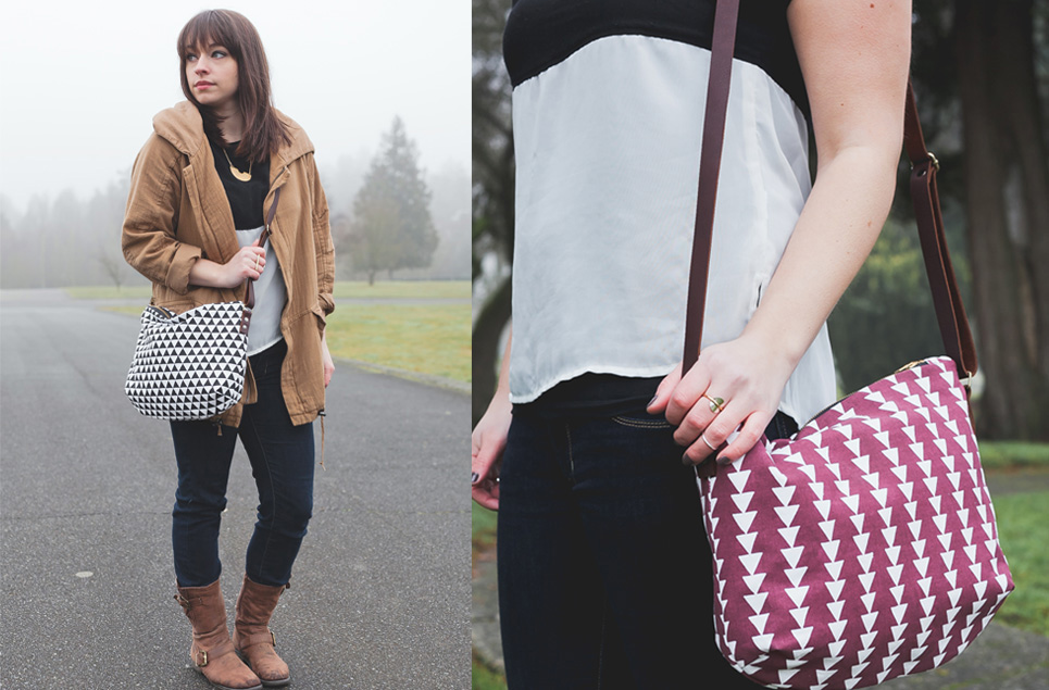 black triangle crossbody, burgundy tribal crossbody