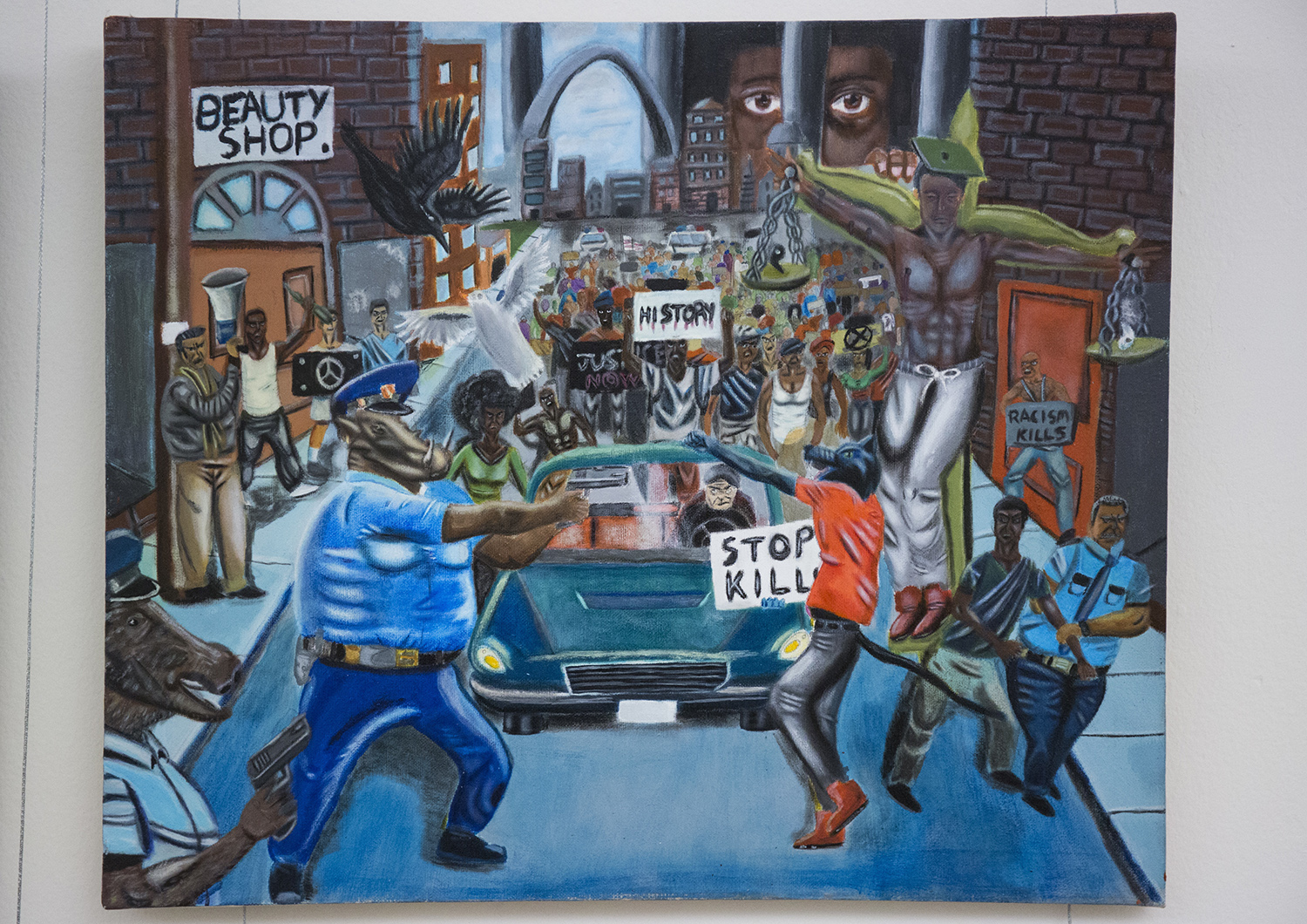 Democratic Congressman Keeps Hanging Painting Back Up That Depicts Cops as Pigs