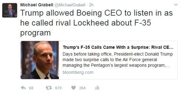 F-35 chief confirms phone call with Trump and Boeing CEO