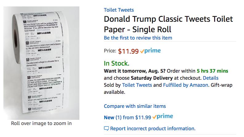 Amazon реализует туалетную бумагу ствитами Трампа