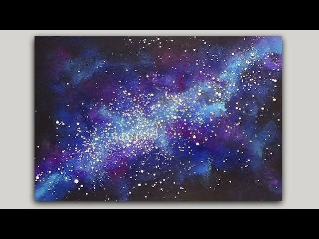 Sponge Painting a Galaxy with Acrylic Paint
