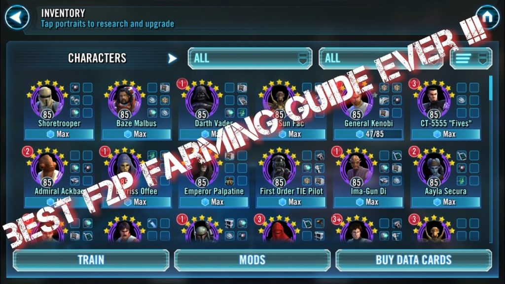 2017 BEST F2P Farming Guide Ever !!! Star Wars Galaxy of Heroes