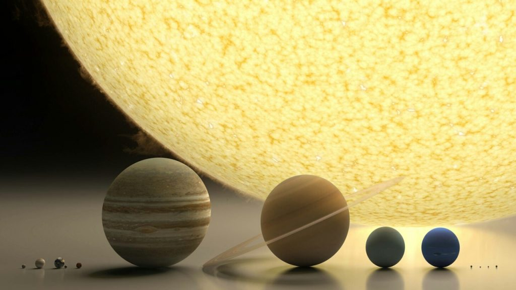 Size Comparison of all Bodies in Solar System (Asteroids, Moons, Planets, Sun)
