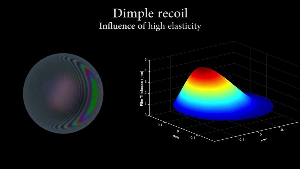 Shooting stars, galaxies and black holes: Thin film drainage in living polymer solutions