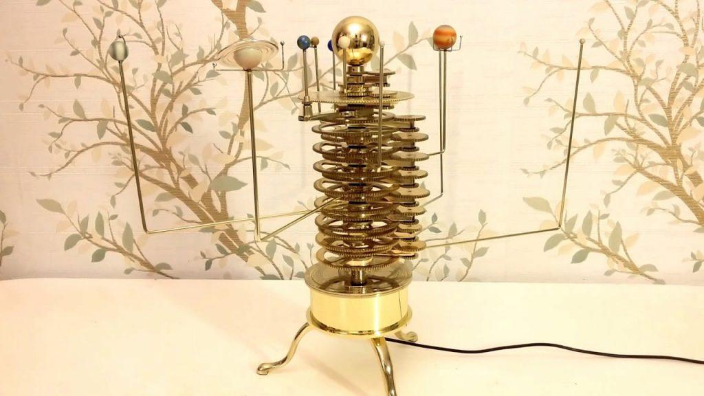 Electric Brass Solar System Model,Astronomy Gift Orrery Mechanical Planetarium